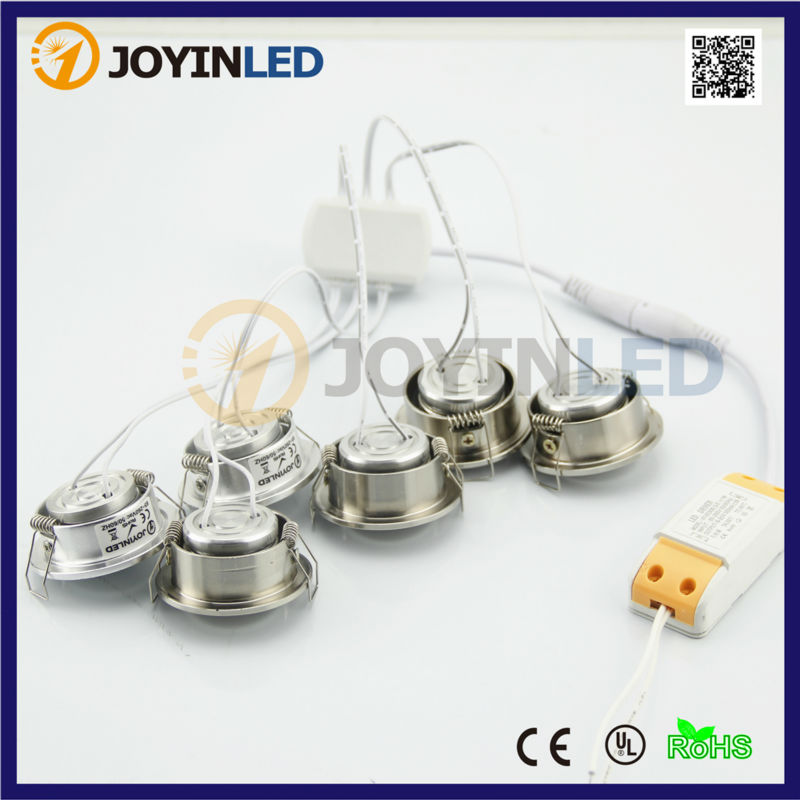 JOYINLED 6*3W 18W COB LED Ceiling Spot lights Recessed Small LED Spotlight Cabinet Light DC12/AC220V 6pcs set with driver cable connector cree 3w mini led cabinet downlight led recessed cabinet spot light white warm white