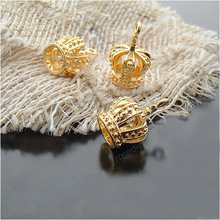 (19934) Wholesale Fashion Brass Charms & Pendants 19*13MM Gold color Copper Crown 6PCS