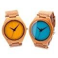 Bobo bird 2016 nova colorido natural de bambu de madeira relógios homens Relogio masculino Com Pulseira de Couro Verdadeiro Relógio De Quartzo Em Presente caixa
