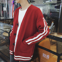 2018 summer new men's contrast color sweater cardigan coat loose trend casual personality youth fashion
