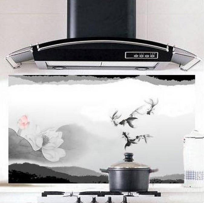 Exhaust Hood Graphics ~ Kitchen range hood splashing back lotus wall oil water