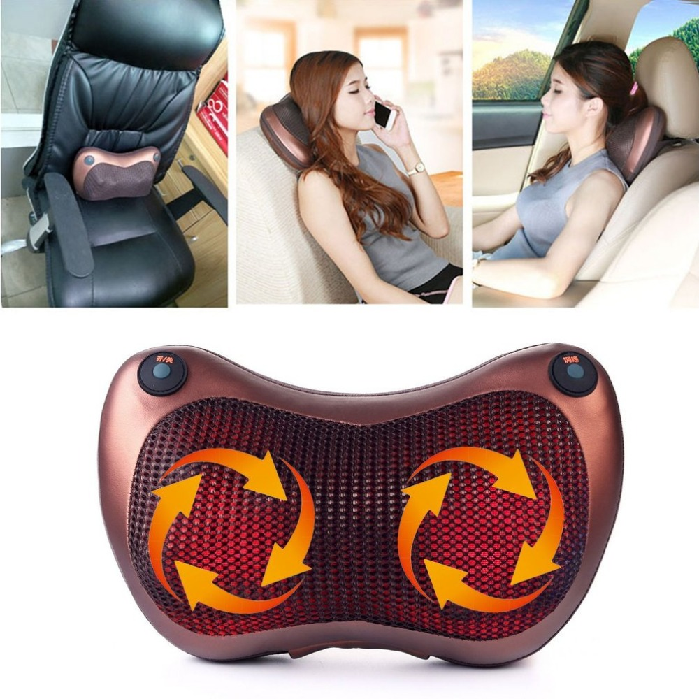 8 Heads Comfortable Magnetic Therapy Electronic Neck Massager Shoulder Back Waist Massage Pillow Cushion Best Gift Hot Sale hot sale english proverb thinking dog design back cushion pillow case