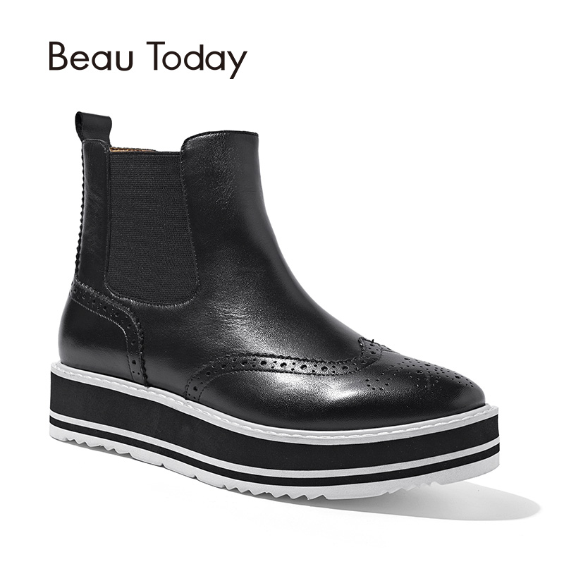 BeauToday Chelsea Boots Women Ankle Length Square Toe Brogue Boot Genuine Calf Leather Top Brand Lady