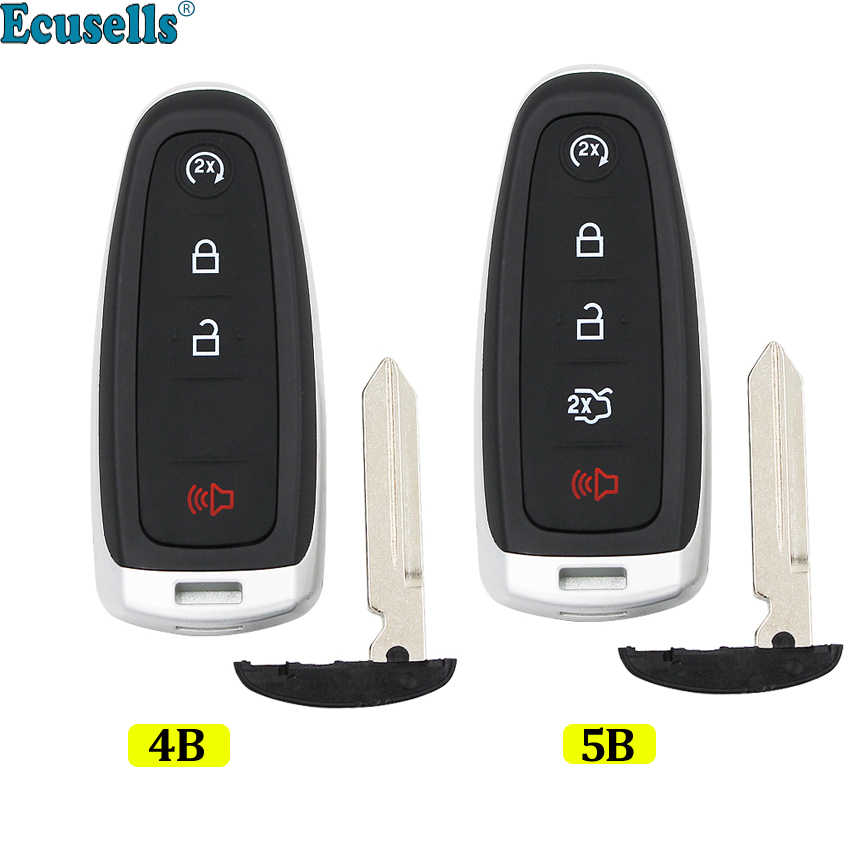 5 Buttons Fashion Genuine Leather keyless Remote Smart Key Fob case Cover Keychain for Ford Edge Escape Explorer Flex Focus Taurus Fusion C-Max Lincoln MKS MKT MKX M3N5WY8609 TM Royalfox Black//red
