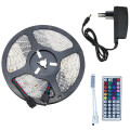 5m 10m RGB LED Strip Kit SMD Waterproof Flexible Tape IP65 60leds/m Rope Lighting With 44key IR Remote Controller+DC 12V Adapter
