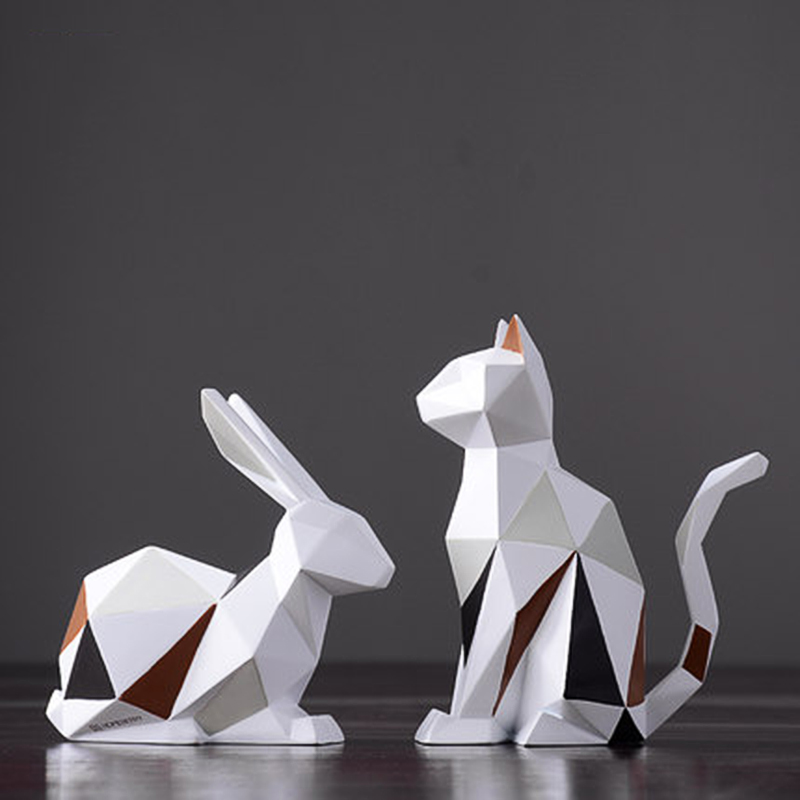 Modern Resin Rabbit Cat Statues Sculpture Decoration Geometric Crafts Gift TV Cabinet Office Statue For Decoration Garden Statue