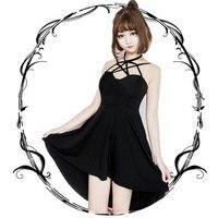 Adomoe new Summer Japanese Hard Girl Women Pentagram Sexy Black Halter Dress Punk Lolita Cross Strap Gothic Style Mini Dresses
