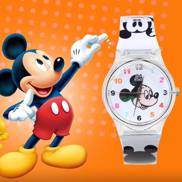 Children Cartoon Watch Plastic Watchband Kids Watches Hello Kitty Mickey cow dog