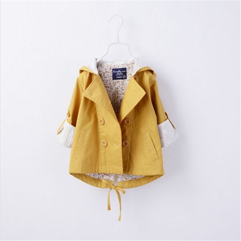 Girls Jacket Spring Autumn Hooded Girls Coat 100% Cotton Jacket For Girls 2-10 Years Yellow Pink Windbreaker Trench coat Outwear girls 100