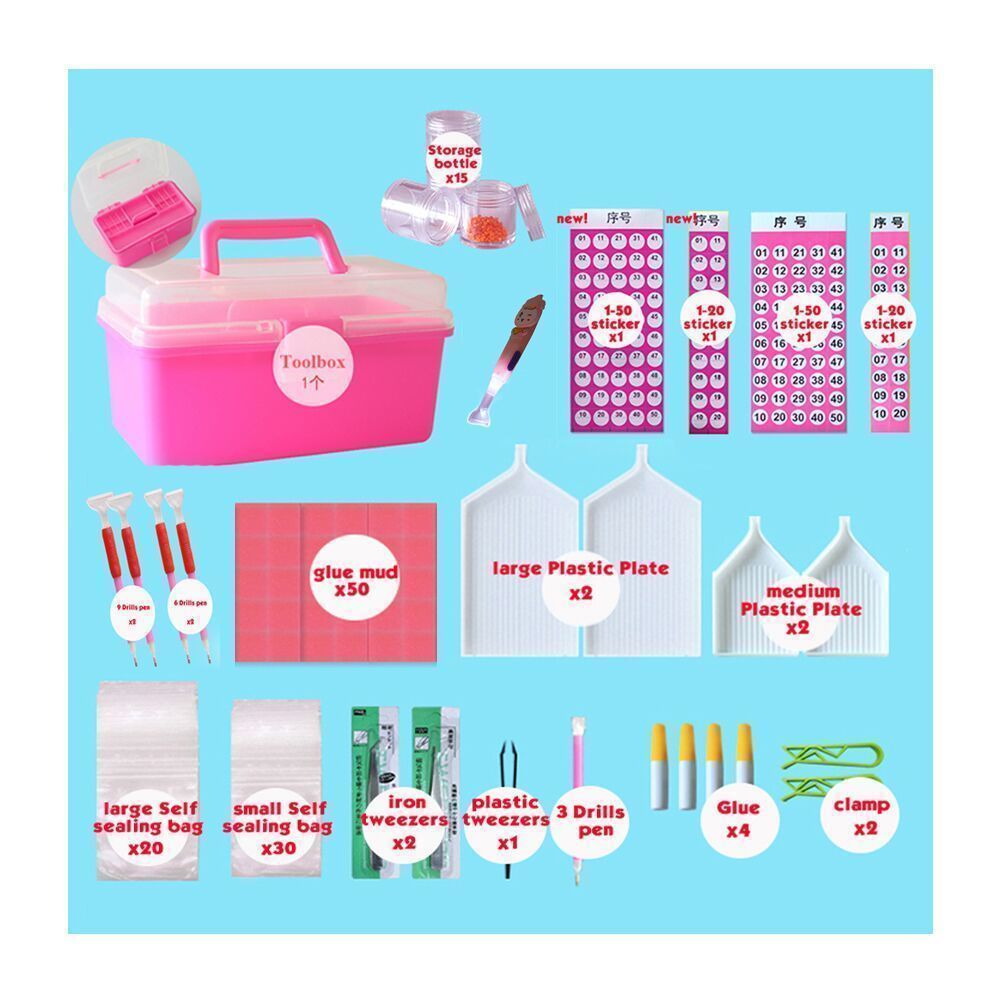 Huacan Diamond Painting Tools Box Kits 5D DIY Diamond Embroidery Accessories Full Rhinestones Boxes Cross Stitch Cases