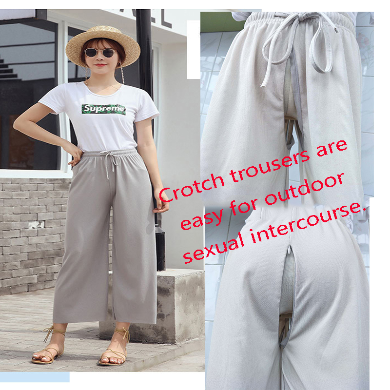 Outdoor Sex Legging Cropped Exhibitionist Crotch Open Trousers Drawstring Zipper Dogging Car Sex Women Couples Sexual Outdoors .