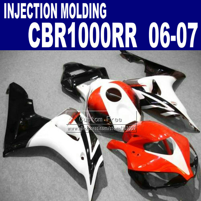 Custom Injection motorcycle fairings kit for 2006 2007 CBR1000RR CBR 1000 RR 06 07 CBR 1000RR white red fairing bodykits injection mold fairing for honda cbr1000rr cbr 1000 rr 2006 2007 cbr 1000rr 06 07 motorcycle fairings kit bodywork black paint