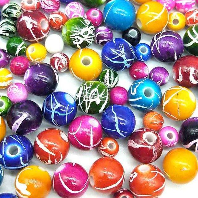 50/100 unids/lote 6/10mm DIY hecho a mano de la Ronda cuentas de acrílico para collar pulsera encantos de la joyería de hacer al por mayor entrega de Color al azar