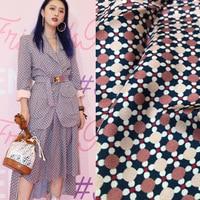 New wave dot lattice digital printing twill clothing fabric spring and summer popular women's printing fabric brand flower