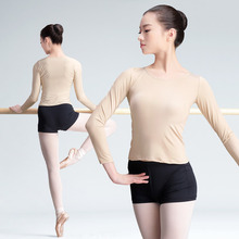 Long Sleeve Yoga Top Shirt Teen Girls Adults Slim Compression Bottoming Shirts Solid Dance Underwear