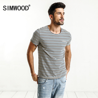 SIMWOOD 2017 Summer New T Shirt Men Striped Slim Fit Curl Hem O Neck Fashion Casual