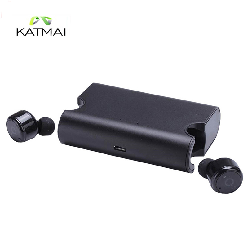 KATMAI True Wireless Headphones Twins Bluetooth 4.2 Headset TWS Mini Invisible In-ear Earbuds 1500mAH Power Earphone for iphone remax 2 in1 mini bluetooth 4 0 headphones usb car charger dock wireless car headset bluetooth earphone for iphone 7 6s android