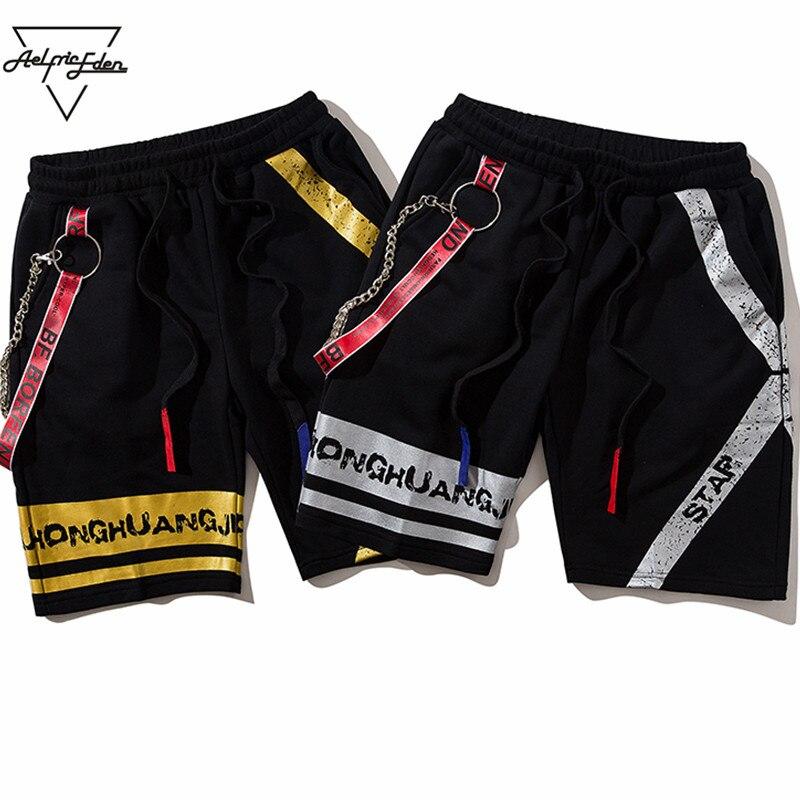 Aelfric Eden 2018 Été Nouvelle Casual Shorts Hommes Rubans Chaîne De Fer De Mode Coton Genou Longueur Joggers Haute Qualité Vêtements OF047