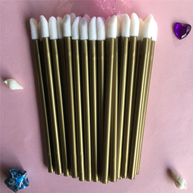 50 piezas desechables labio maquillaje cepillo lápiz labial cepillo pluma pincel de cosméticos herramienta brillo de labios lápiz labial varita aplicador pincel maquillaje belleza herramienta