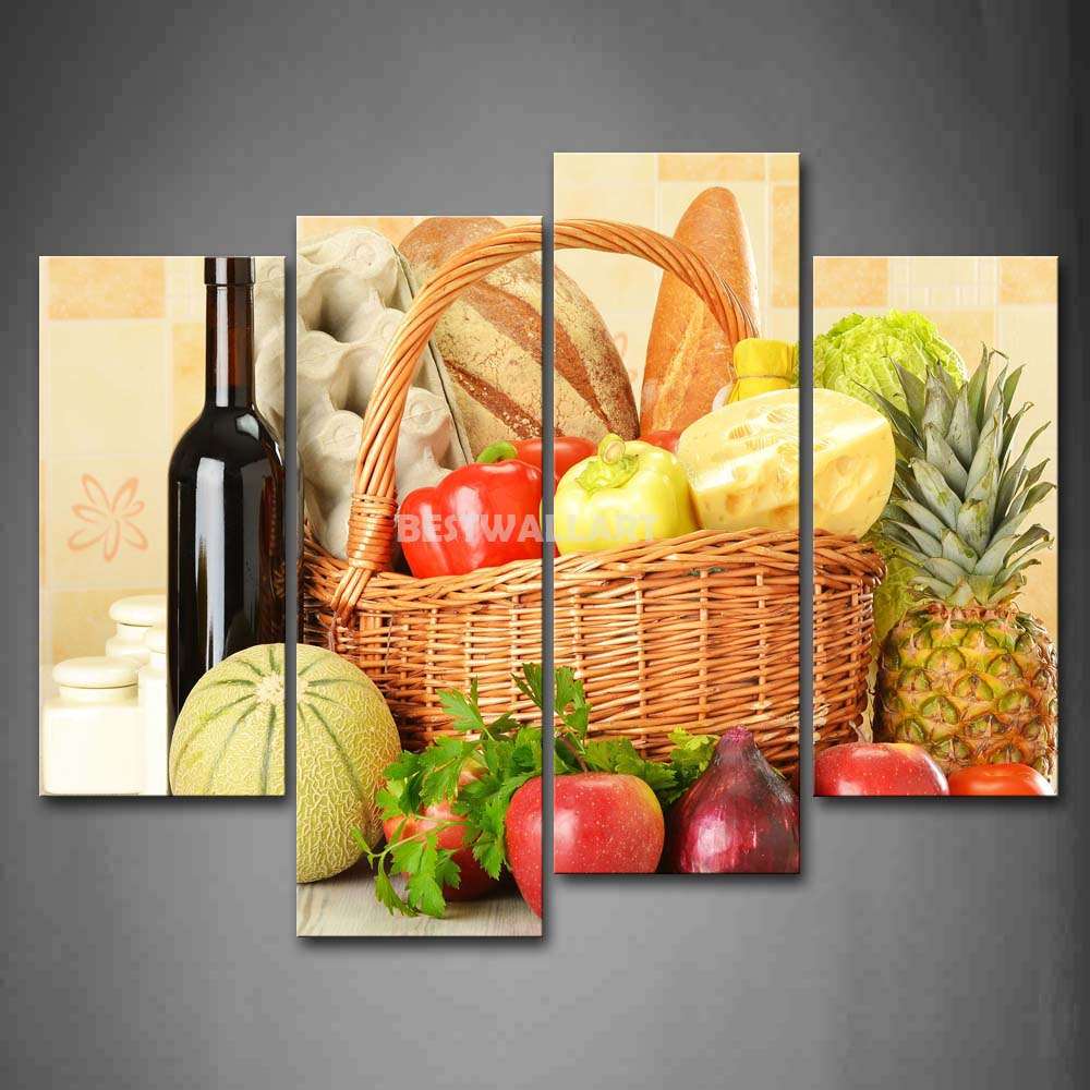 Still Life Various Fruit Vegetables Wine Basket 4 Piece Painting On ...