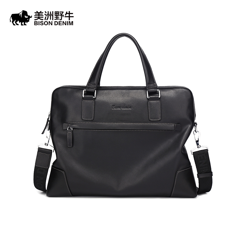 2018 BISON DENIM Brand Handbag Men Shoulder Bags Leather Genuine Briefcase Business Travel Messenger Bag Men's Cowhide Tote Bag brand bison denim handbag men genuine leather shoulder bags business travel cowhide crossbody bag tote bag men s messenger bag