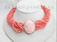 Fine AAA 10Stds 100% natural pink coral necklace cameo clasp 17inch Nobility Woman's jewelry Girl gift