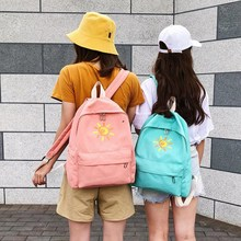купить Black PInk Gray Canvas Backpack Cute Women Sun Printing Backpacks for Teenagers Casual Travel Bags Mochilas Rucksack School Bags дешево