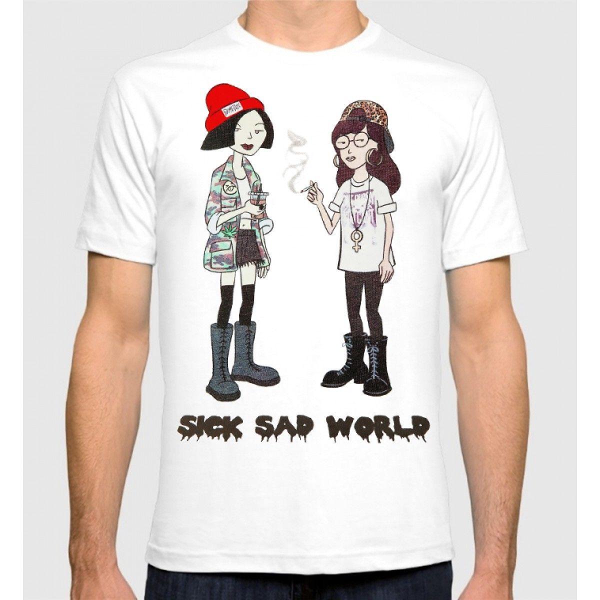 Дарья футболка больной грустный мир Для мужчин Новинки для женщин хлопковая Футболка с круглым вырезом Лето Личность Мода Для мужчин Футбо... ...
