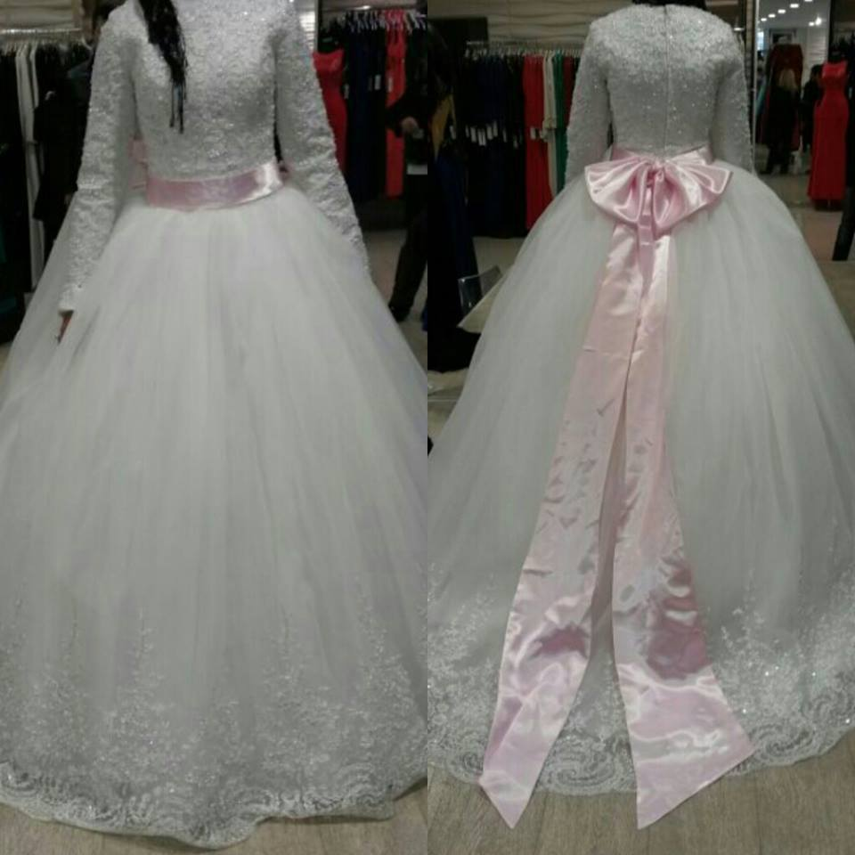 2016 Muslim Wedding Dresses Long Sleeve With font b Hijab b font Arab islamic Plus Size