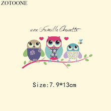ZOTOONE Cute Owl Patches For Clothes Heart Heat thermal Transfer T-shirt Dresses DIY Letter Embroidered Flower Applique