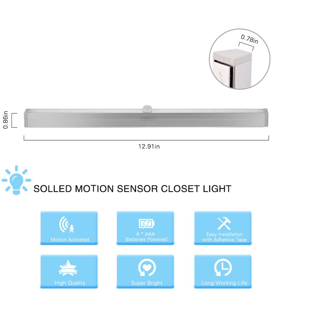 LumiPaert 20 LEDs Portable Wireless Sensor Closet Under Cabinet Night Light Battery Powered for Stair Aisle Porch Bedroom