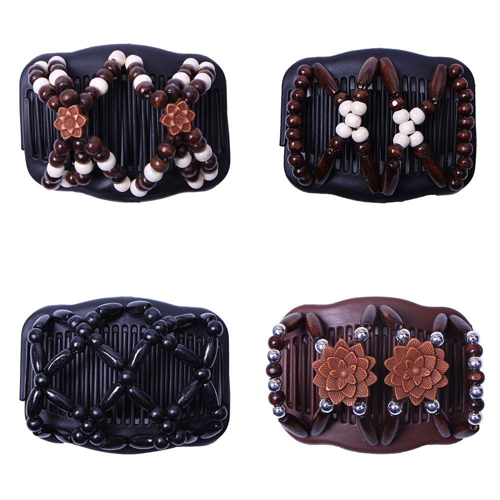 2019 New Fashion Women Wood Double Beaded Hair Comb Clip Stretchy Hair Comb Clip Beads Elasticity Hairpin Clip Accessories