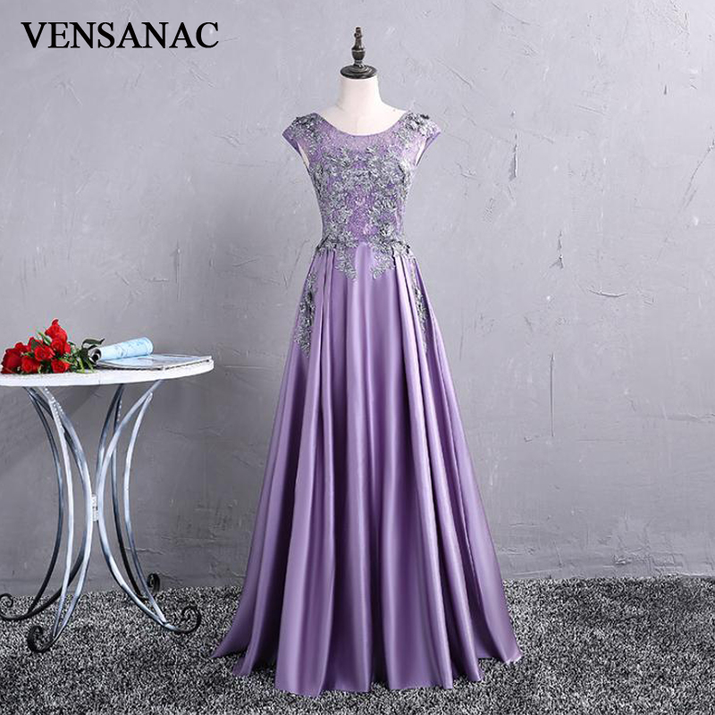 VENSANAC 2018 Vintage O Neck Crystals Embroidery Long A Line   Evening     Dresses   Elegant Lace Tank Satin Party Prom Gowns
