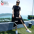 Nova 2016 verão mulheres black dress ruffled hem patchwork caixilhos natural plissado irregular hem bonito midi sun dress robe femme 1526