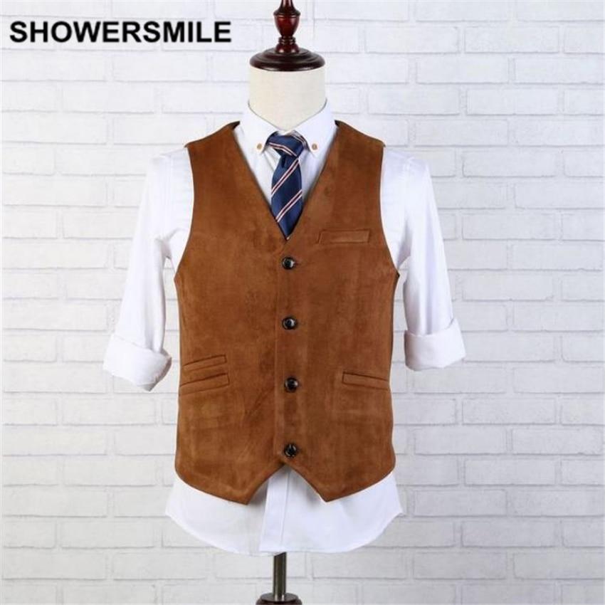 SHOWERSMILE Brand Suede Vest Men Brown Leather Sleeveless ...
