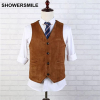 SHOWERSMILE Brand Suede Vest Men Brown Leather Sleeveless Jacket Autumn Winter Vintage Slim Fit Chaleco Stylish Waistcoat