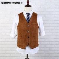 Suede Vest Men Brown Leather Sleeveless Jacket Autumn Winter Vintage Slim Fit Chaleco 4 Button V