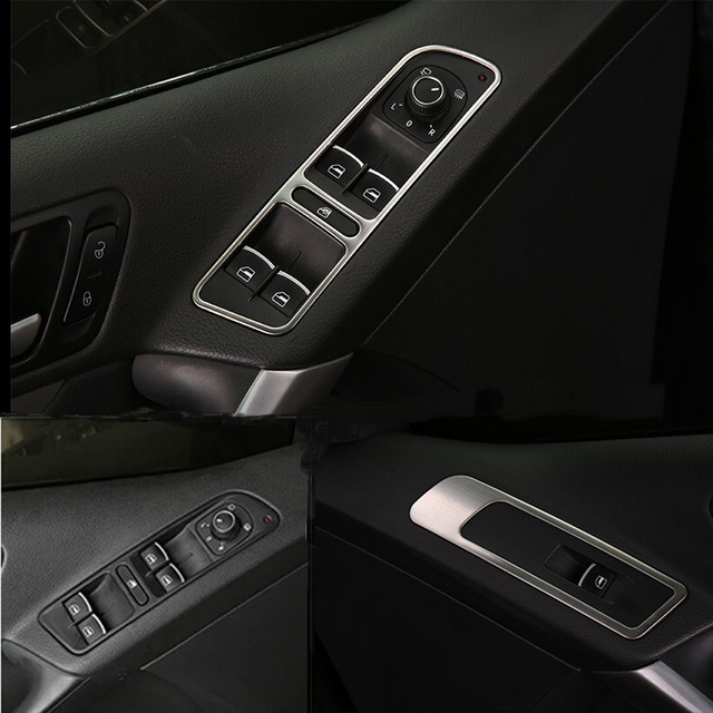 Car Cover Inner Door Window Switch Cover Trim Auto Accessories For Volkswagen Tiguan 2013 2014 2015 Stainless Steel 4pcs Per Set