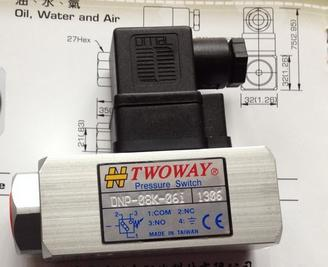 New and original DNP-08K-06I TWOWAY Pressure switch, Air pressure relay switch 1.5-8.0 bar Made in Taiwan new and original kp36 060 2133 pressure controller switch relay pressure switch