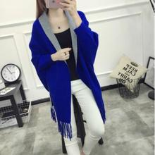 Autumn New Women Elegant Socialite Cashmere Tassel Blends Trench Sweaters Batwing Scarf Cape Outwear Good Quality Coat AMBMCM(China)