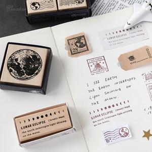 Image 5 - XINAHER בציר קוסמי נסיעות ירח תווית חותמת DIY עץ גומי בולים רעיונות מכתבים רעיונות בול רגיל