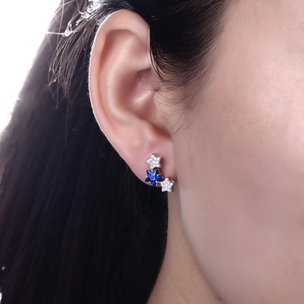 DOUBLE R Tripe Star Earrings For Girls Real 925 Sterling Silver Stud Earring With Created Sapphire