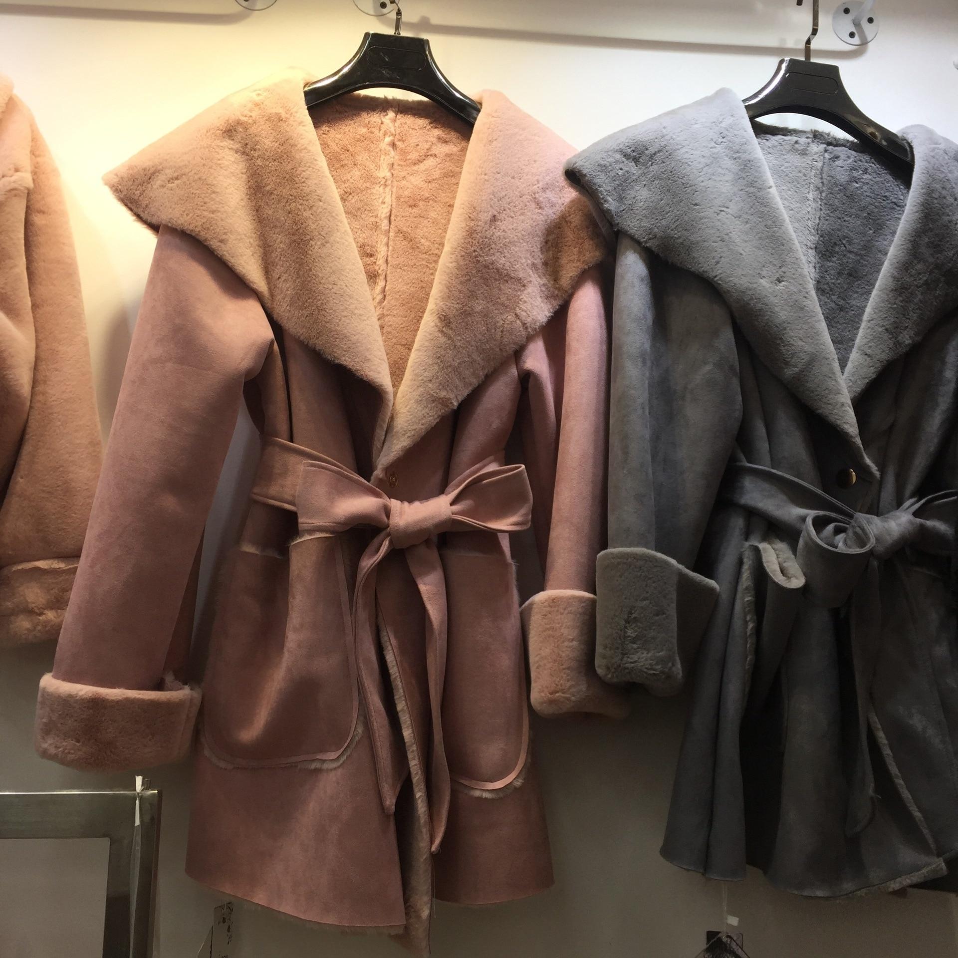 Suede Fur Coat Women Winter Long 2017 Korean Style Large Lapel Warm Faux Fur Coats with Belt Female Solid Loose Overcoats manitobah перчатки suede mitt with fur trim lg charcoal св серый