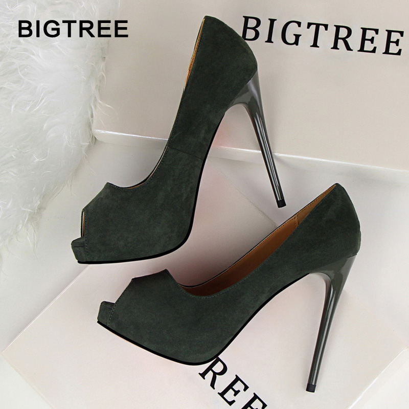 2018 New Platform Women Pumps Solid Flock High Heels 12cm Shoes Women's Peep Toe Shallow Sexy Party Shoes Fashion Wedding Shoes motorcycle parts for yamaha mt 09 fz 09 mt 09 tracer 2014 2015 2016 fz09 mt09 tracer radiator grille rear set chain guards etc