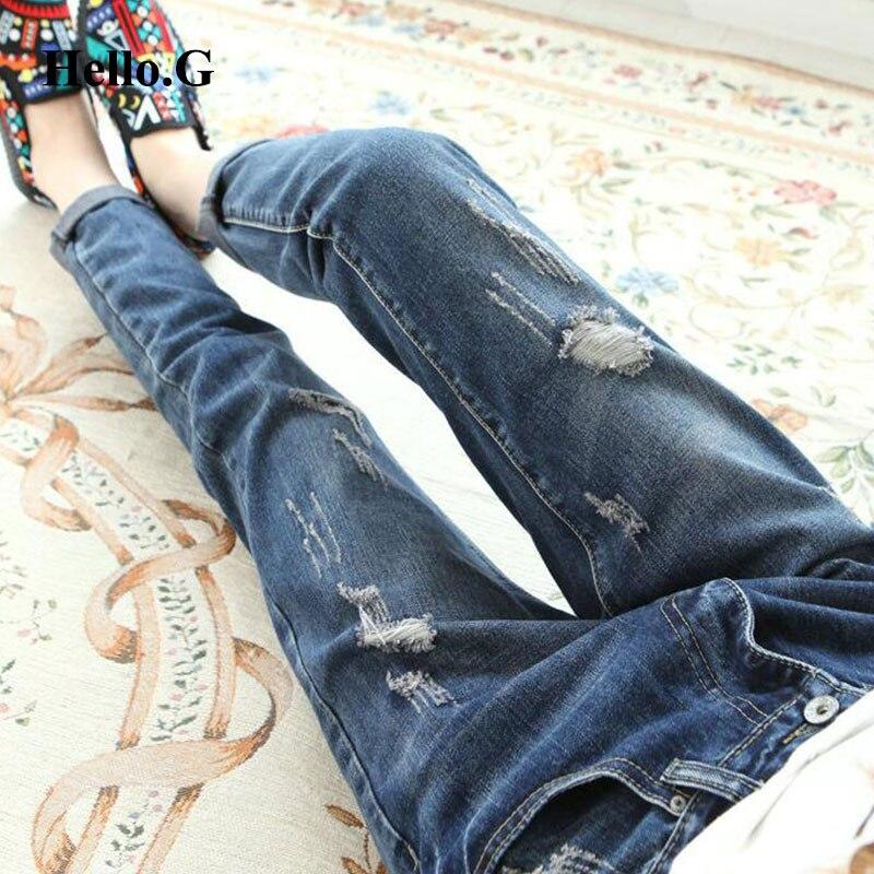 2016 Blue Street Summer Style Ripped Jeans Female Washed Denim Jeans Trouser Boyfriend Jeans For Women