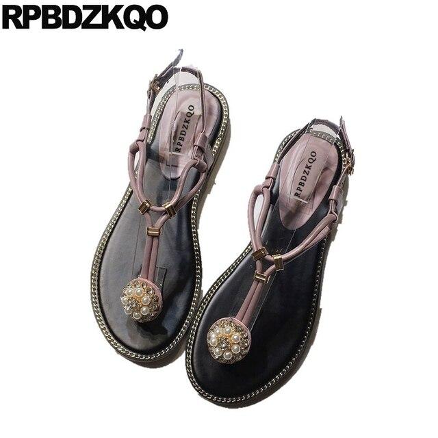 Holiday Rhinestone Pearl Jewel Women Crystal Pink Shoes Sandals Leisure  Fashion Bohemia Style Diamond Flat Thong T Strap Nice f00a83802667