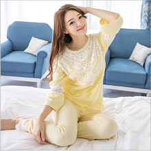 Hot sale Autumn Girls Pijama Suits cotton Lace  Pijama Feminino Knitted Cotton Lace pajama Set pijama entero mujer Free Shipping