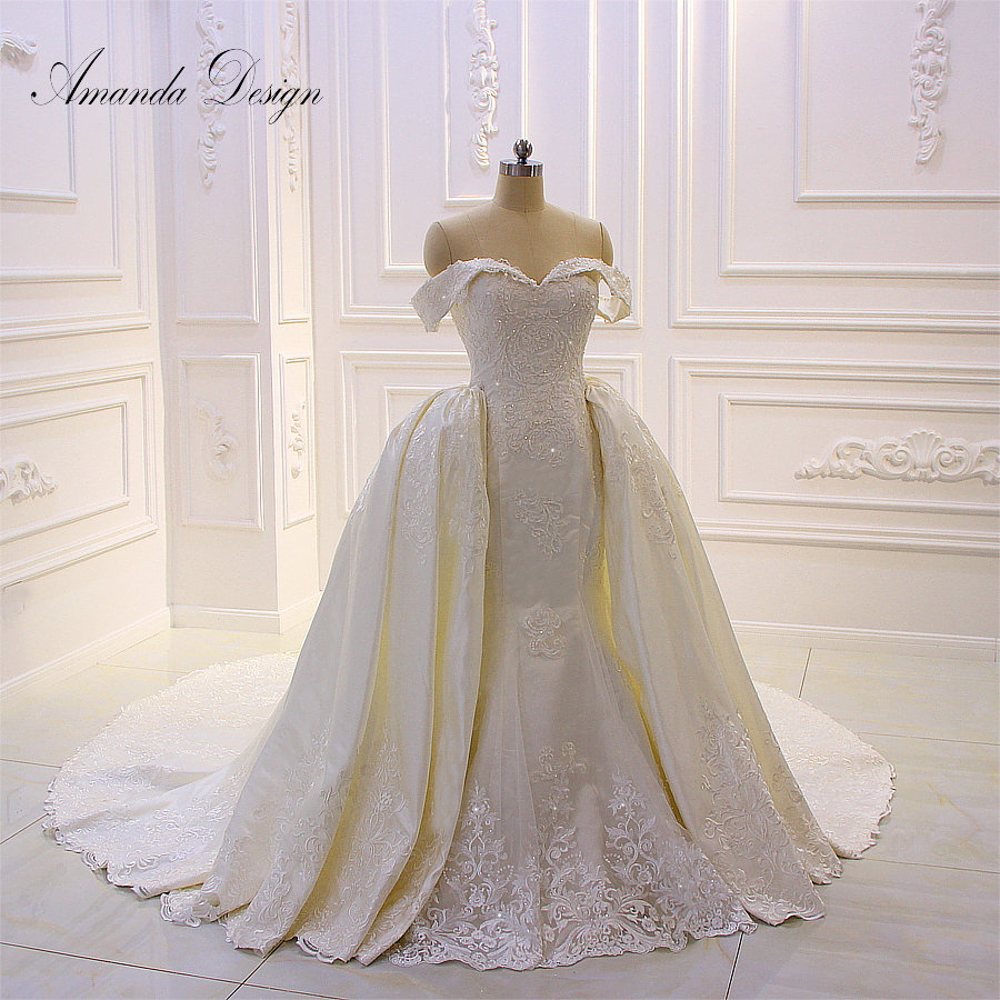 Amanda Design robe de mariee courte Off Shoulder Lace Applique Detachable Skirt Wedding Dress