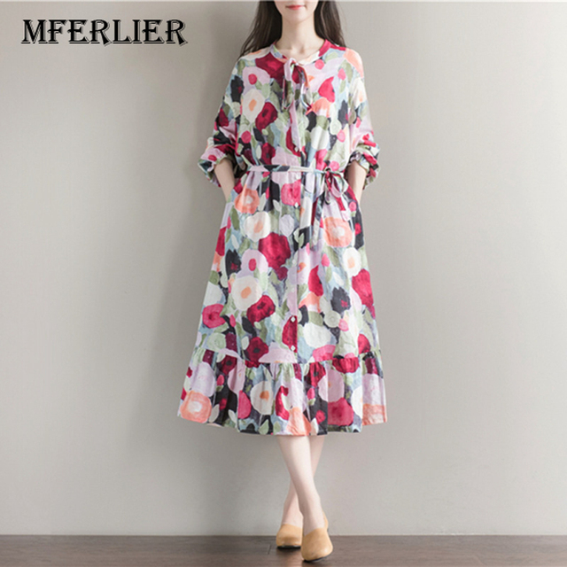 Women Summer Dress Long Sleeve Sundress With Bow Casual A Line Loose