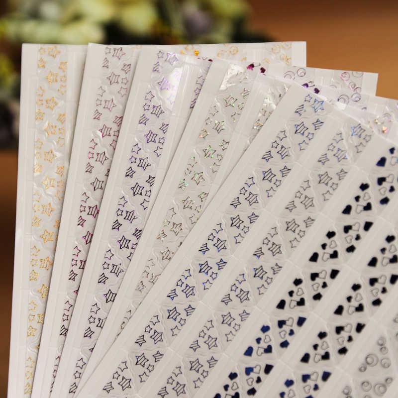 390 pçs/lote 5 folhas adesivas de papel de canto, bronzear, transparente, para álbum de fotos, decoração, conjunto de álbum de fotos, atacado